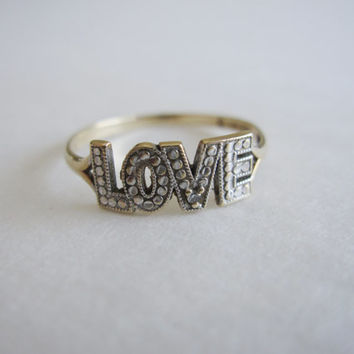 Vintage 10k Estate Love Large Block Letter and Natural Diamond Two Tone White Yellow Gold Studded Detail Dainty Petite Retro Hipster Ring