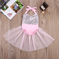 Staci Light Pink and Silver Sequin Baby Romper with Tulle Skirt