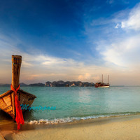 Thailand beach turquoise red art photo, Thai Long-tail Boats  Fine Art Photography, romantic beach print, 8 x 12''