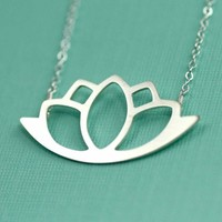 Modern Silver Lotus Necklace by ANORIGINALJEWELRY on Etsy