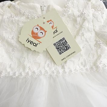 New Baby Girl Christening Easter Gown Dress Lace Satin Embroidery Formal Toddler Baby Girl Party Dresses