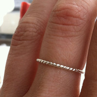 16 gauge thin Rope Stacking Ring, Sterling Silver - Custom made to any size