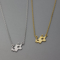 Cute Doggy Dog  Puppy  Pendant Necklace  -  Available color as listed ( Gold, Silver )