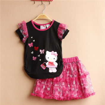 Infant clothes toddler children summer baby girls clothing sets cartoon 2pcs  clothes sets girls summer set