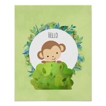 Cute Monkey Peeking Out from Behind a Bush Hello Poster
