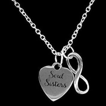 Soul Sisters Infinity Sister Best Friend Gift Charm Necklace