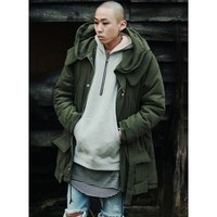 Men Rear Logo Hooded Thermal Trench Field Jacket at Fabrixquare