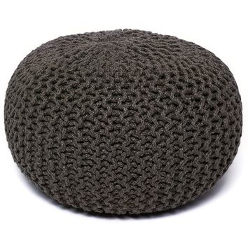 "Natural Jute Round Pouf 16"" x 16"""
