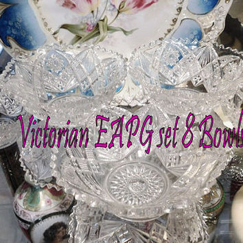 Antique Glass Bowls EAPG Victorian Early American Pressed Glass Set of Eight Bowls