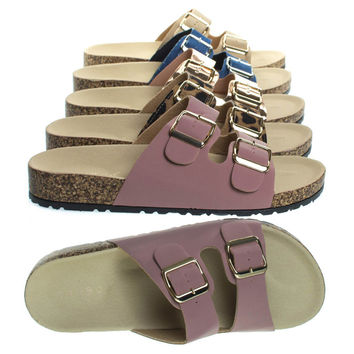 Defeat14 Mauve Pink By Bamboo, Molded Footbed, Casual Slide In 2 strap Cork Platform Flat Sandal