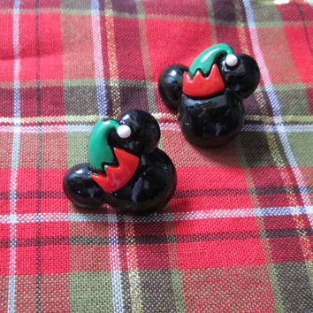 Mickey Mouse Elf Christmas Stud Disney Earrings