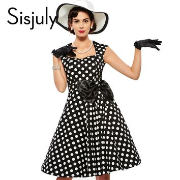 Sisjuly Vintage dress 1950s polka dot  rockabilly  grace style 2017 summer party dresses retro bow female elegant vintage dress