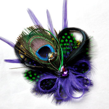 Feather Fascinator Mardi Gras Peacock Polkadot by FeatherFunded