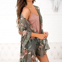 Glass Of Rosé Floral Kimono (Faded Olive)