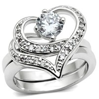 Women's Stunningly Beautiful 2pc Silver Cubic Zirconia Heart Ring, Choose Your Size (Size 6)