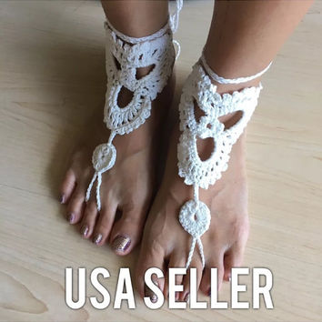 Crochet Hawaii sand beach Wedding barefoot sandals ankle wrap white