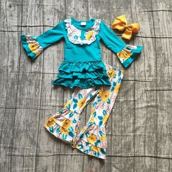 new Fall/winter baby girls children clothes jade yellow floral flower ruffles cotton long sleeve outfits boutique match cilp bow
