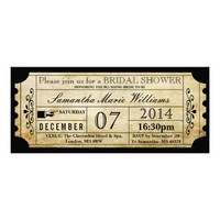 Vintage Wedding Ticket Invitations- Bridal Shower