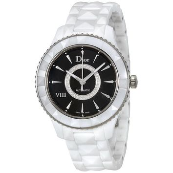 Dior VIII Black Dial Diamond White Ceramic Ladies Watch CD1245E3C005
