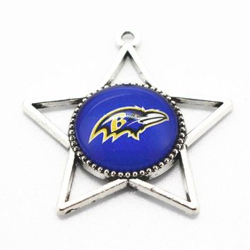New arrival football Sports Baltimore ravens Team Hanging Dangle Charms Glass Pendant Fit Necklace Bracelet diy Jewelry