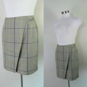 Vintage Burberrys Wrap Skirt 1980s Straight Mini Wraparound