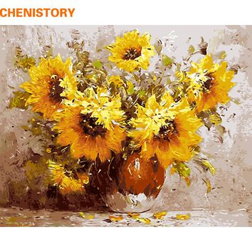 CHENISTORY Frameless Sunflowers DIY Painting By Numbers Hand Painted On Canvas Modern Wall Art Picture For Home Decor 40x50cm