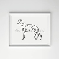 Greyhound Low Poly Print - Digital Print, Geometric Art, Black and White, Wall Art, Home Decor, Dog Print, Housewarming gift for Dog Lovers