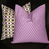 """Decorative Pillows 16"""" Purple Lattice  Pillow Covers 16 inch Lilac, Sage, Brown, White Pillow set of TWO Modern Geometric"""