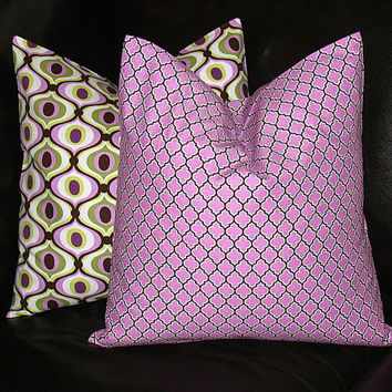 "Decorative Pillows 16"" Purple Lattice  Pillow Covers 16 inch Lilac, Sage, Brown, White Pillow set of TWO Modern Geometric"