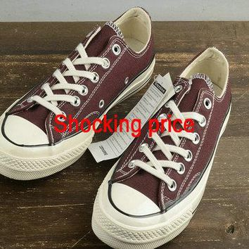 Authentic Women Converse Chuck Taylor All Star 1970s Low Burgundy White 152513C shoe