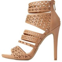 Strappy Laser Cut-Out Heels by Charlotte Russe