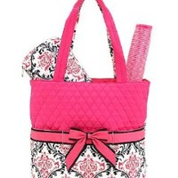 Quilted Damask Print Monogrammable 3pc Diaper Bag