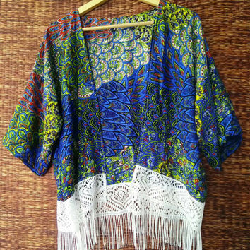 Boho Fringe Kimono Cardigan Tassels Peacocks print Festival Hippies Gypsy fabric Beach Cover Up Jacket Summer festival women fashion Blue
