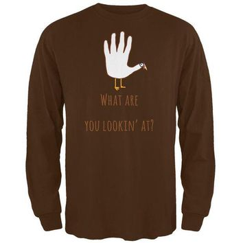 CREYCY8 Thanksgiving Turkey What Are You Looking At?  Brown Adult Long Sleeve T-Shirt