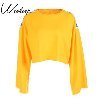Weekeep Women 2017 Autumn Fashion Checkerboard Cropped Sweatshirt Knitted Yellow Long Sleeve Crop Top Moletom Feminino Hoodies