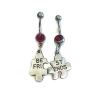 Best Friend Belly Button Rings - Best Friend Puzzle Piece Belly Button Rings - BFF Charm Belly Rings - BFF Navel Rings - Best Friend Barbell