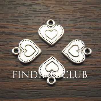 Free Shipping! 50 pcs Antique metal silver charms hearts jewelry pendants for diy necklace bracelet jewelry findings  A1185