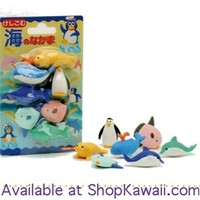 Iwako Marine Animals 7-Piece Eraser Set