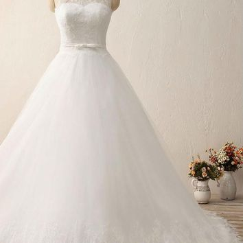 Wedding Dress Long A-Line Lace Bow Belt Bridal Wedding Gowns