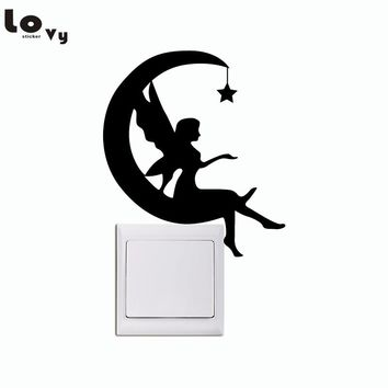 Moon Fairy Switch Sticker - Crescent Moon Silhouette Wall Sticker - Star And Moon Wall Art - Girl Nursery Wall Decor