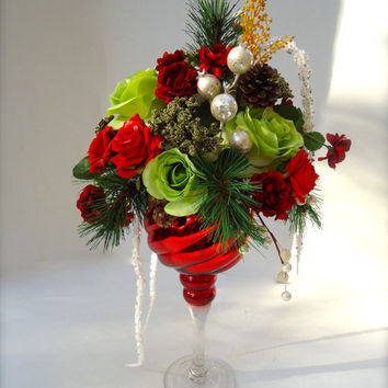 Christmas Floral Table Arrangement, Pine and Rose Arrangement in Glass Pedestal Goblet