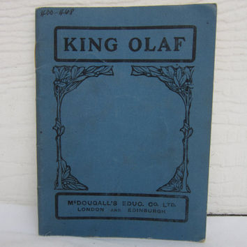 Antique School Textbook Vintage  History Text  King Olaf text book