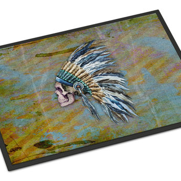 Day of the Dead Indian Chief Skull  Indoor or Outdoor Mat 24x36 BB5128JMAT