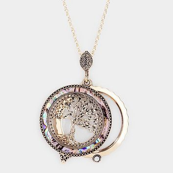 Abalone Tree Of Life Pendant Magnifying Glass Long Necklace