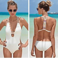 Black White Sexy One Piece swimsuit sports backless swimwear push up bandage monokini high waist