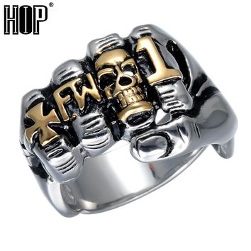 Hip Cool Fist Finger Biker Ring Punk Gothic Gold Silver Titanium Stainless Steel Unique Skull Rings for Men Jewelry