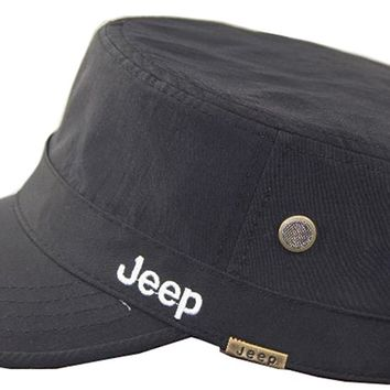 Jeep Unisex Solid Color Qucik Drying Cadet Army Cap Twill Military Corps Hat Flat Top Cap Outdoor Sports Cap Hat