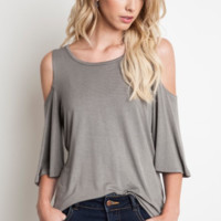 Cold Shoulder Knit Tee