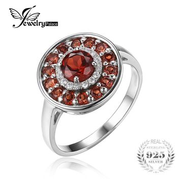 Jewelrypalace Round 1.2ct Red Genuine Garnet Cocktail Anniversary Ring 925 Sterling Silver 2016 Fashion Fine Jewelry For Women