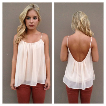 Cream Chiffon Low Back Tank